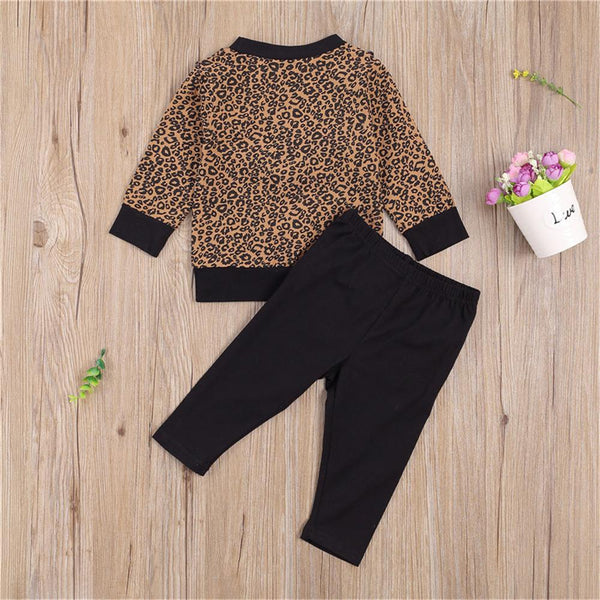 Girls Ruffled Leopard Printed Crew Neck Long Sleeve Top & Trousers Wholesale Girls