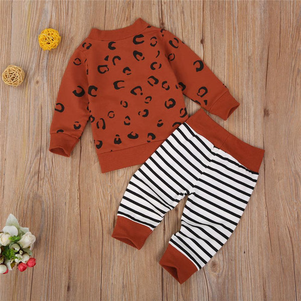 Unisex Long Sleeve Leopard Cardigan Top & Striped Pants Bulk Kids Clothes