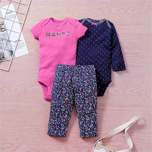 Baby Unisex Printed Short-sleeve Romper & Long-sleeve Romper & Pants Baby Outfits