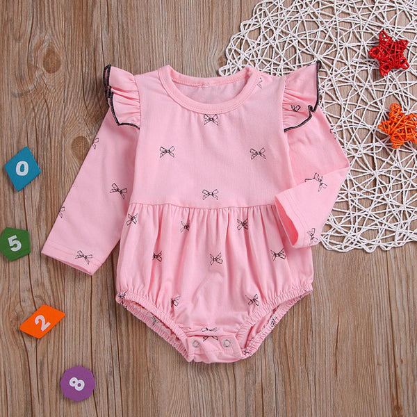 Baby Girls Printed Long Sleeve Ruffled Baby Rompers Wholesale