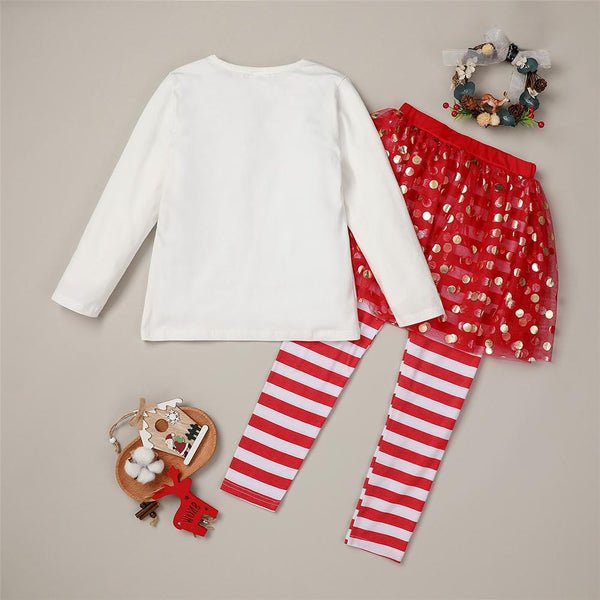 Girls Long-sleeve Merry Christmas Top & Striped Trousers Girl Boutique Clothing Wholesale