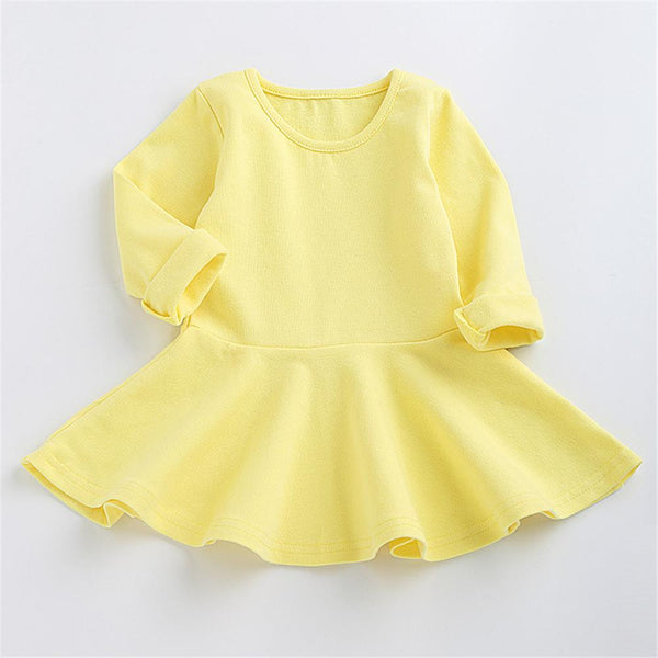 Girls Solid Color Long Sleeve Ruffled Bottoming Dress Girls Clothing Wholesalers