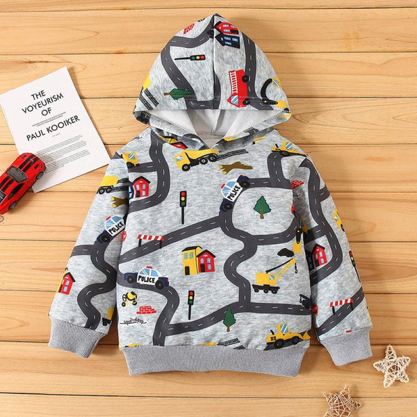 Boys Cartoon Car Hooded Top Wholesale Boys Clothing