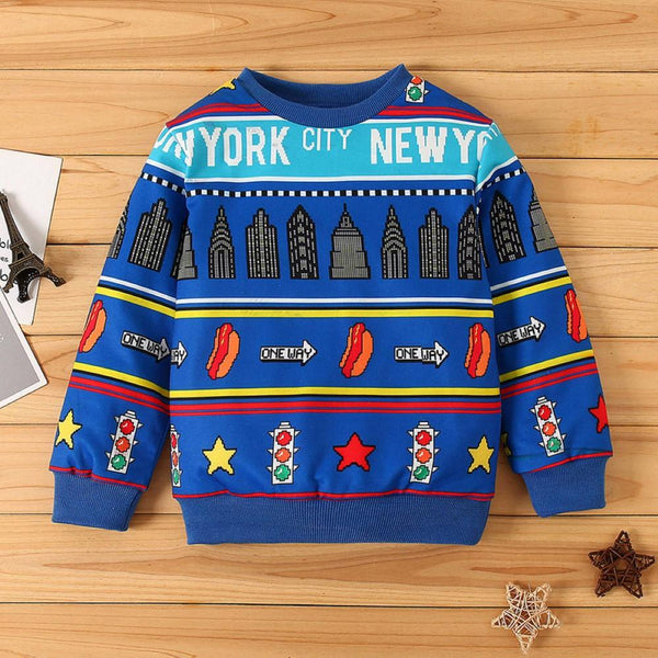 Kid Boys Cartoon Pattern Long Sleeves Top Boy Clothes Wholesale