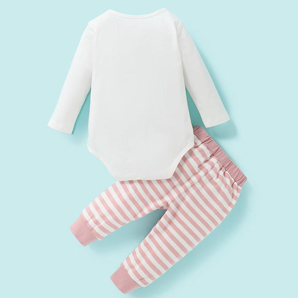 Baby Girl Made Of Magic Long Sleeve Romper & Striped Pants Wholesale Baby Boutique Items