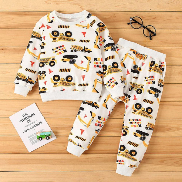 Boys Cartoon Car Printed Pajamas Suits Boys Casual Suits