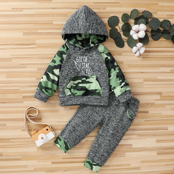 Baby Boys Gotta Stay Fly Camo Hooded Long Sleeve Top & Pants Baby Outfits