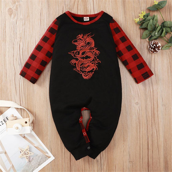Baby Boys Plaid Dragon Totem Long-Sleeve Romper Wholesale Clothing Baby
