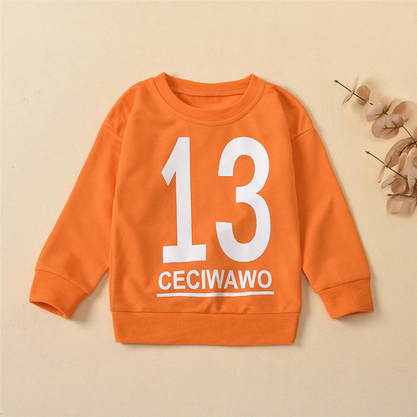 Boys Number Printed Long Sleeve Casual Tops Baby Boys Clothes Wholesale