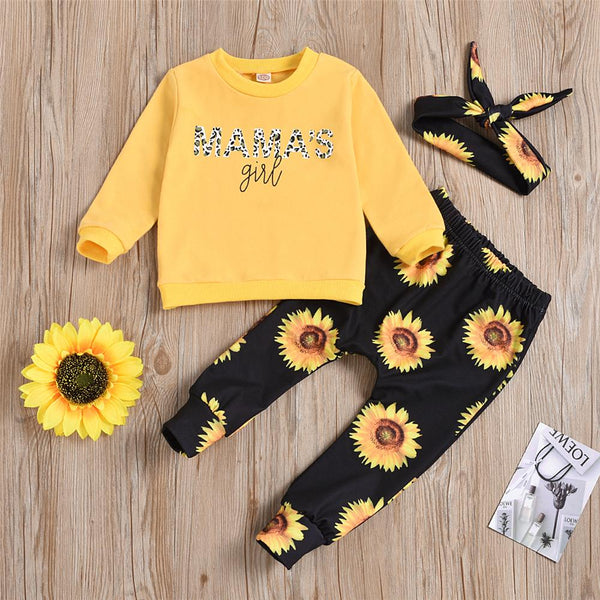 Mama's Girl Long Sleeve Top & Sunflower Pants & Headband Baby Boutique Wholesale