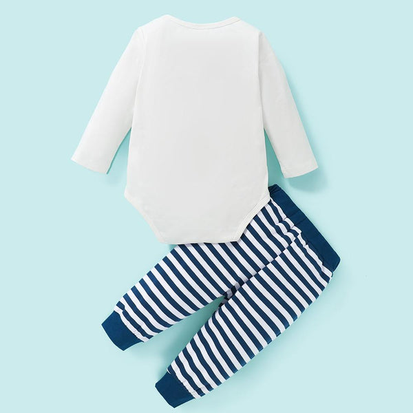 Baby Boys Cartoon Long Sleeve Romper & Striped Pants Baby Wholesale Clothing