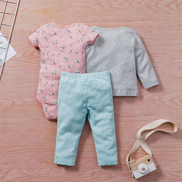 Baby Girls Cartoon 3PCS Short Sleeve Romper & Long Sleeve Top & Pants Babywear Wholesale