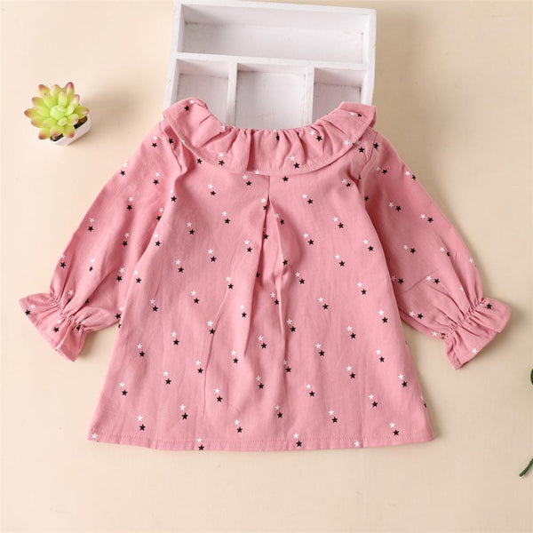 Girls Long Sleeve Star Printed Button Top Wholesale Baby Girl Clothes