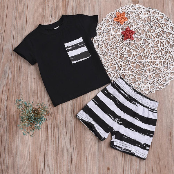 Boys Pocket Striped Short Sleeve Top & Shorts Wholesale Boy Suit