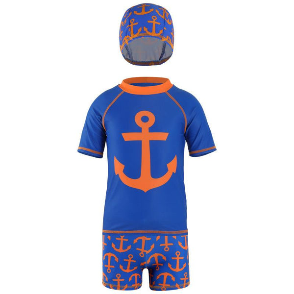 Boy's Three-pieces Swimwear Top & Shorts & Hat Children's Sports Split Quick-drying Clothes