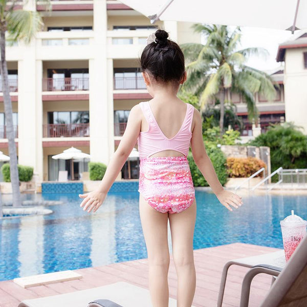 Girl's One-piece Swimsuit Girls Floral Cute Swimming Clothes