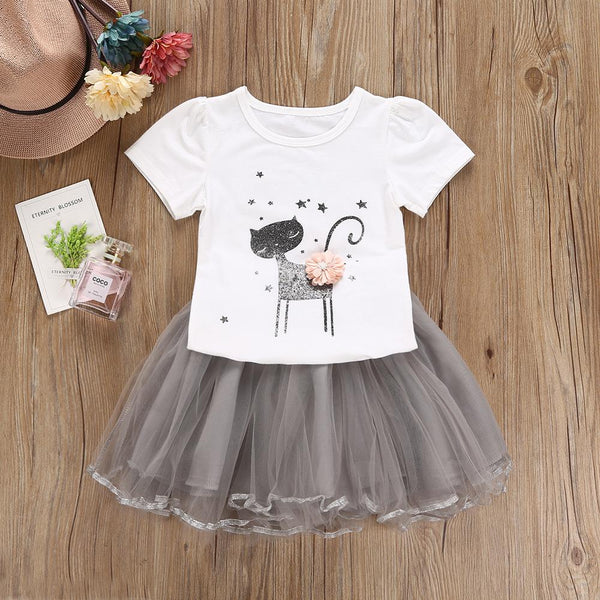 Girls Summer Girls Cartoon Cat Printed Short Sleeve T-Shirt & Skirt Wholesale Girls Clothes