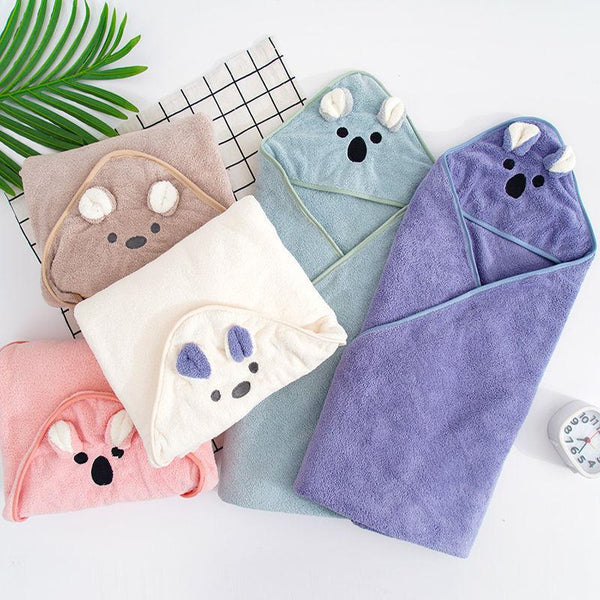 Baby Newborn Koala Cartoon Hooded Bath Towel Children's Quilt Wrap Towel Swaddle Blanket