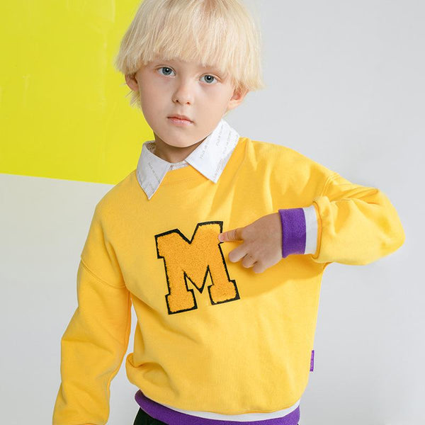 Boys M Letter Pattern Round Neck Top Boys Clothing Wholesale