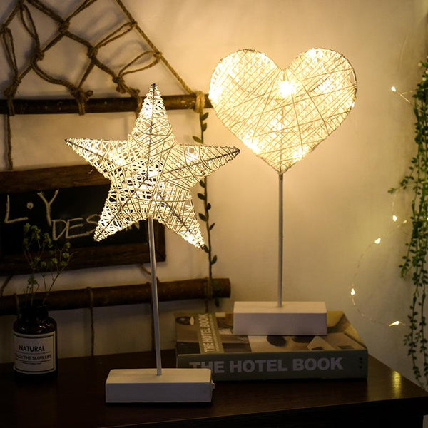 Rattan Modeling Lamp Led Night Light Star Table Lamp Love Decoration Wholesale