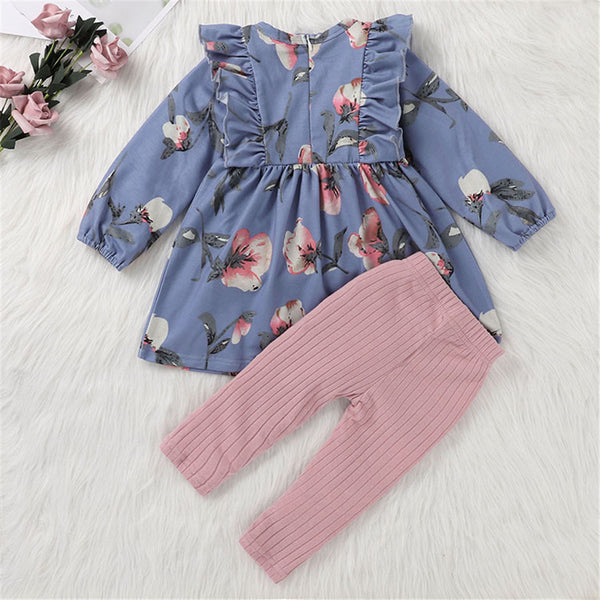 Baby Girls Floral Print Long Sleeve Top & Leggings Cheap Baby Clothes In Bulk
