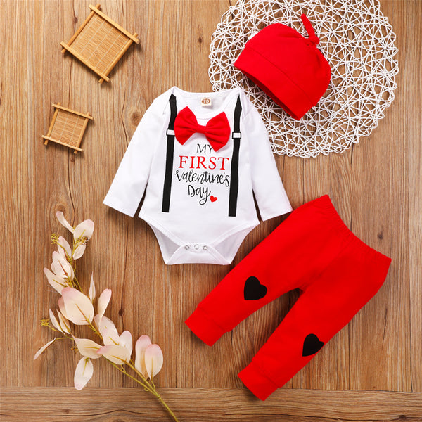 Baby Boys Long Sleeve Valentine's Day Romper & Pants & Hat Baby Outfits