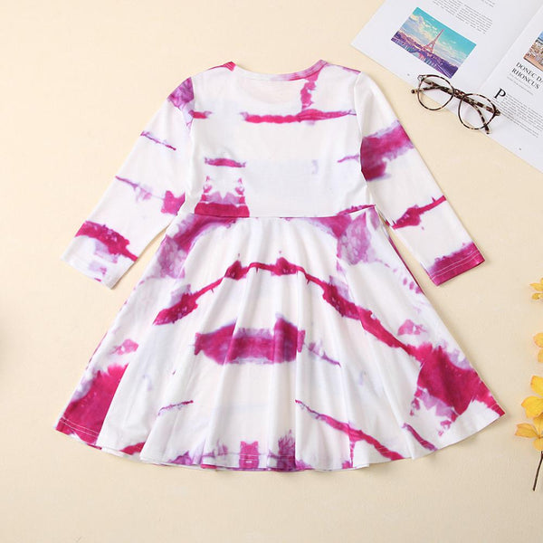 Crew Neck Long Sleeve Tie Dye Dress Wholesale Girl Boutique Clothing