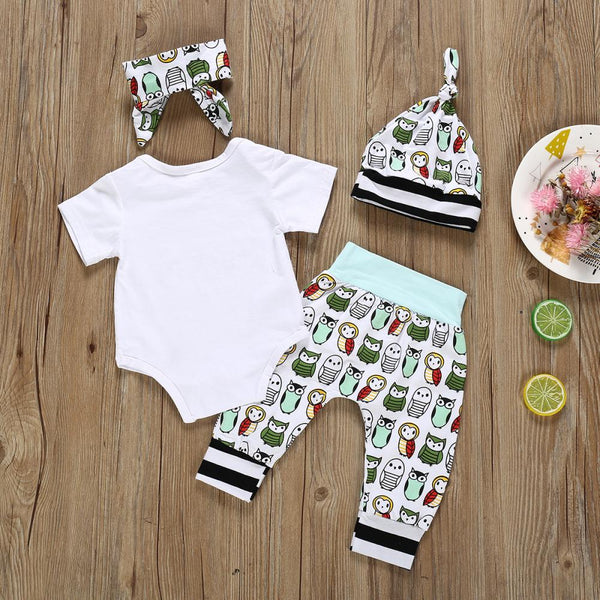 Baby Girl Letter Print Round Neck Short Sleeve Jumpsuit & Cartoon Animal Print Pants & Hat Baby Boutique Wholesale
