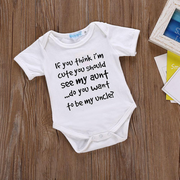 Boys Summer Baby Boy's Letter Printed Short Sleeve Jumpsuit Baby Clothing Cheap Wholesale