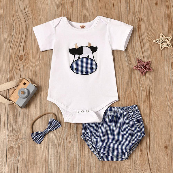 Boys Summer Baby Boy Cow Print Solid Short Sleeve Jumpsuit Baby Clothing Warehouse