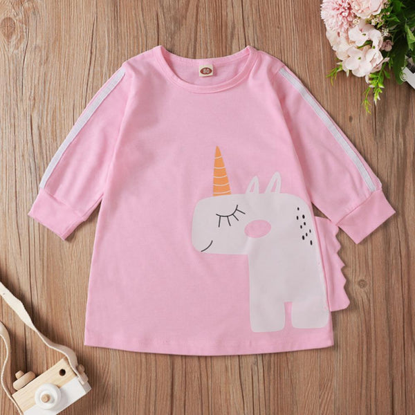 Cartoon Unicorn Printed Long Sleeve Dress Wholesale Clothing Baby