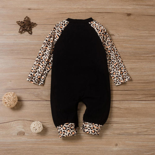 Leopard Christmas Letter Printed Long Sleeve Romper Baby Clothing Cheap Wholesale