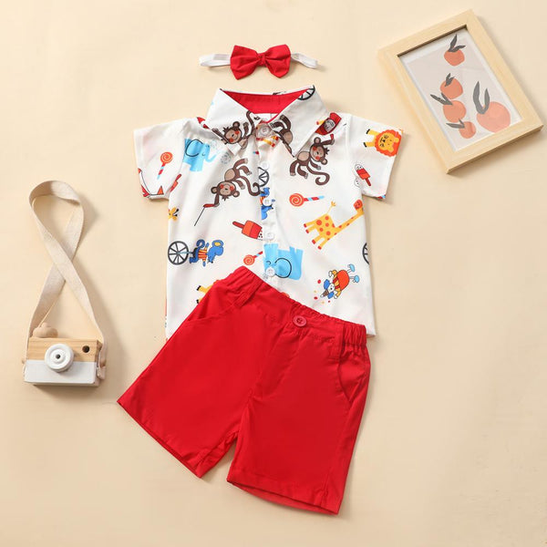 Boys Cartoon Animal Print Lapel Short Sleeve Shirt & Solid Shorts & Bow Tie Little Boy Boutique Wholesale