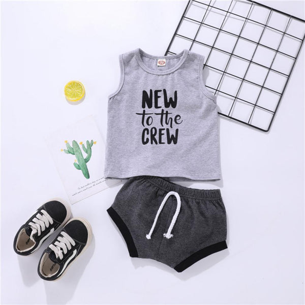 Boys Summer Baby Boys' Letter Printed Sleeveless T-Shirt & Shorts Wholesale Baby Rompers