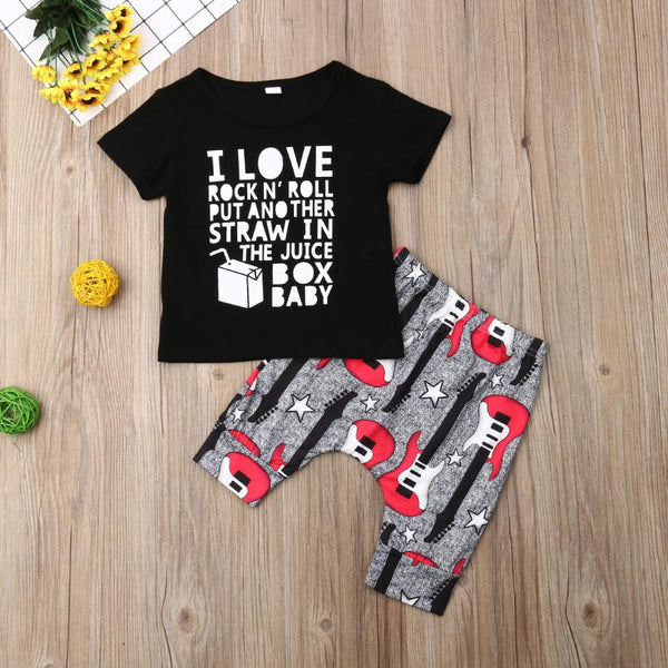 Boys' letter printed Round Neck Short Sleeve T-Shirt & Guitar Printed Pants Wholesale Boy Clothing