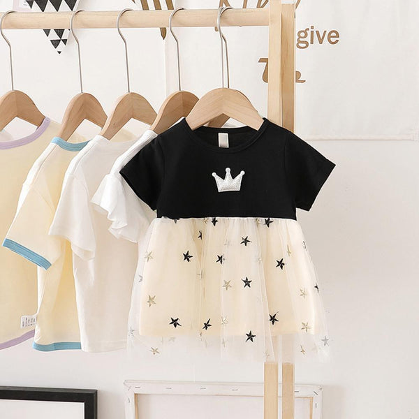 Girls Summer Girls' Crown Star Print Short Sleeve Princess Skirt Girl Dresses Wholesale