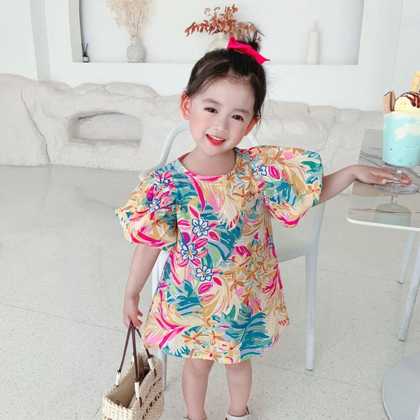 Girls Floral Print Bubble Sleeve A-Line Skirt Wholesale Little Girl Dresses