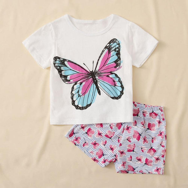 Girls Butterfly Print Round Neck Short Sleeve T-Shirt & Flower Print Shorts Baby Girl Clothes Wholesale