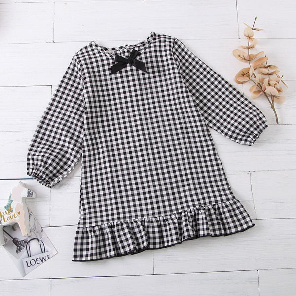 Bow Long Sleeve Plaid Casual Dress Girls Dress Wholesale