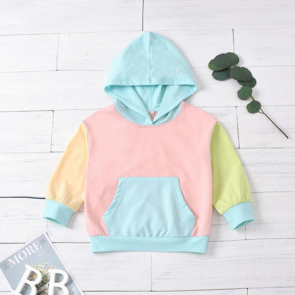 Color Block Hooded Long Sleeve T-shirts Wholesale Baby Girl Clothes