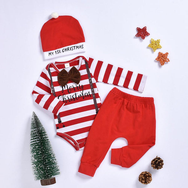 Merry Christmas Striped Romper & Pants & Hat Baby Clothes Vendors