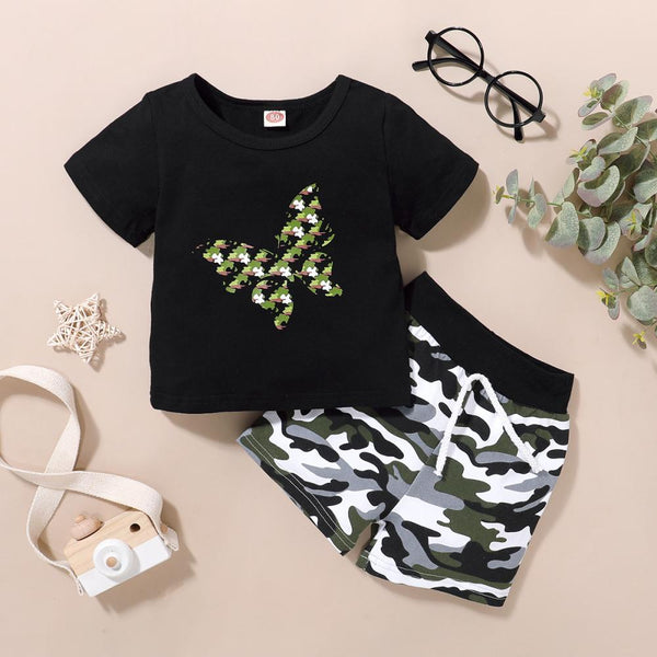 Boys Butterfly Print Round Neck Short Sleeve T-Shirt & Camouflage Shorts Wholesale Toddler Boy Clothing