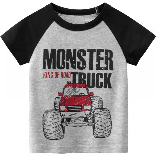 Boys' Cartoon Car Letter Printed Round Neck Short Sleeve T-Shirt Boy Wholesale Clothing