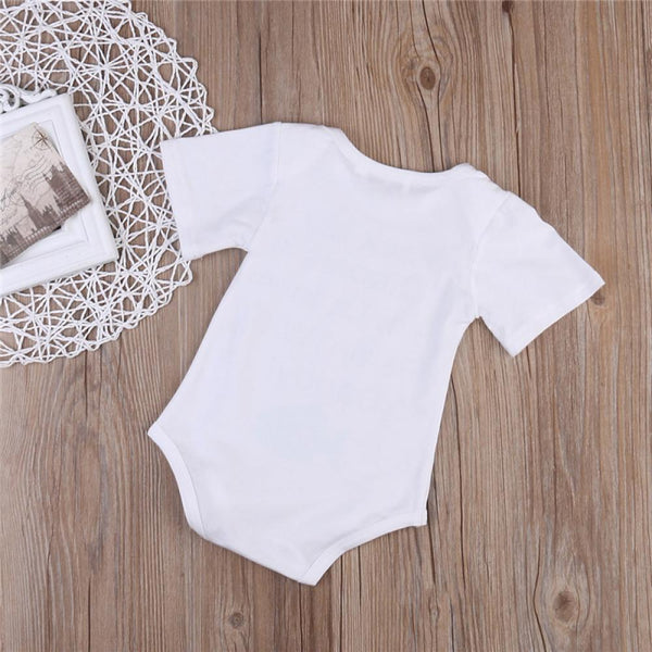 Boys Summer Baby Boy Letter Fish Print Short Sleeve Round Neck Jumpsuit Baby Summer Clothes