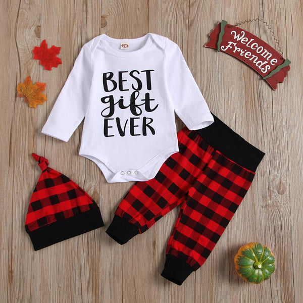 Letter Printed Casual Romper & Plaid Pants & Hat Baby Clothing Wholesale
