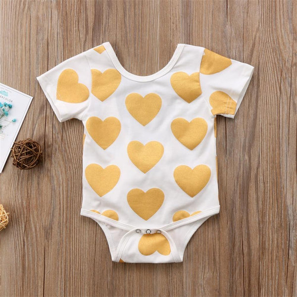 Baby Girl Heart Print Round Neck Short Sleeve Jumpsuit Girls Wholesale Dresses