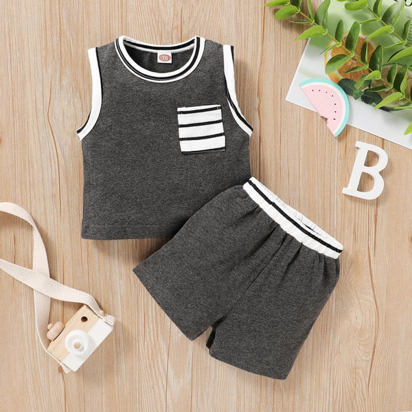 Boys Summer Baby Boy Solid Color Vest & Shorts Two Piece Set Boutique Baby Clothes Wholesale