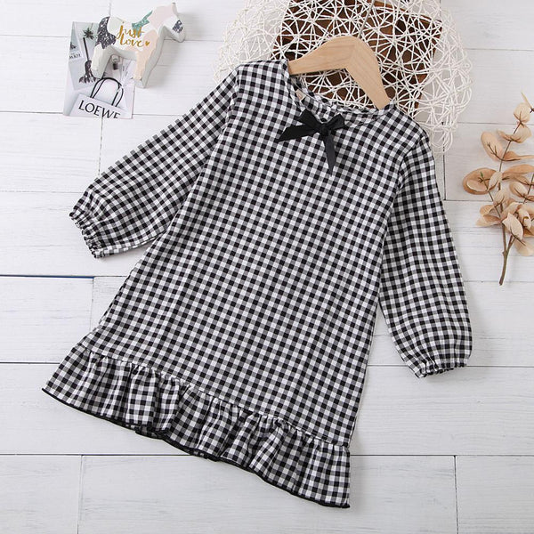 Girls Bow Long Sleeve Plaid Casual Dress Girls Dress Wholesale