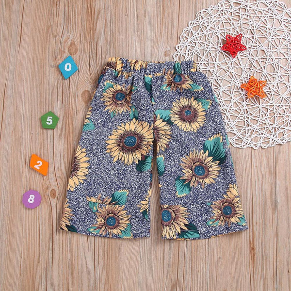 Girls' Sunflower Print Wide Leg Pants Wholesale Little Girl Clothes
