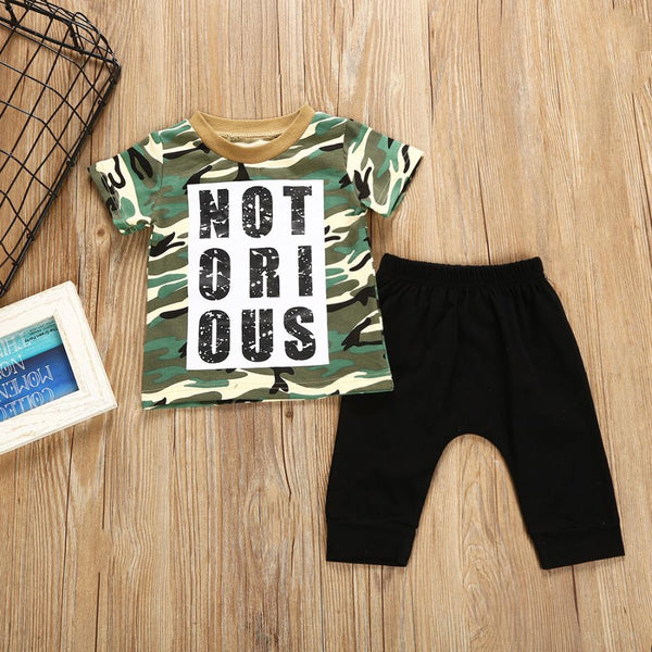Boys' Letter Print Camouflage Round Neck Short Sleeve T-shirt & Solid Pants Wholesale Boy Clothing